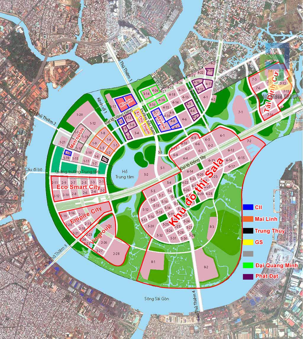 Bản đồ các lô đất tại Thủ Thiêm