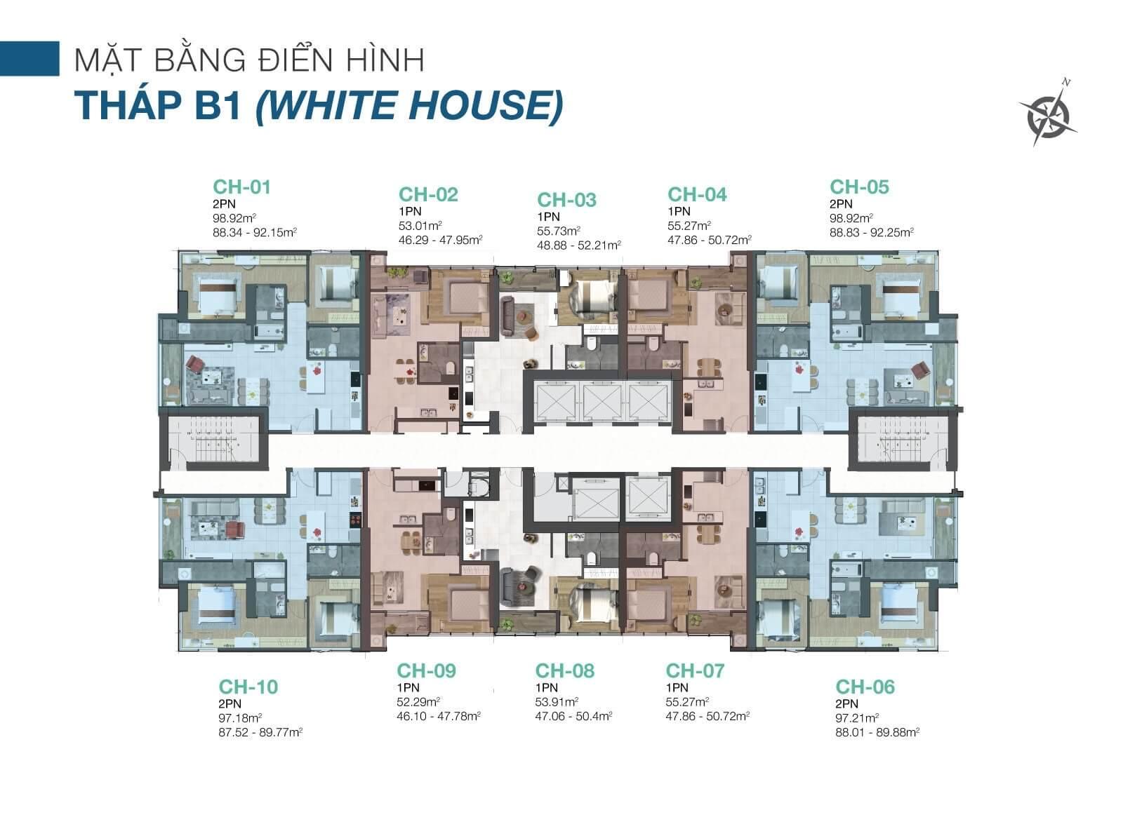 Mặt bằng căn hộ White House Sunwah Peal Bình Thạnh