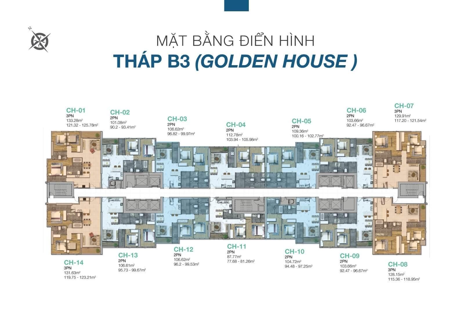 Mặt bằng căn hộ Golden House Sunwah Peal Bình Thạnh