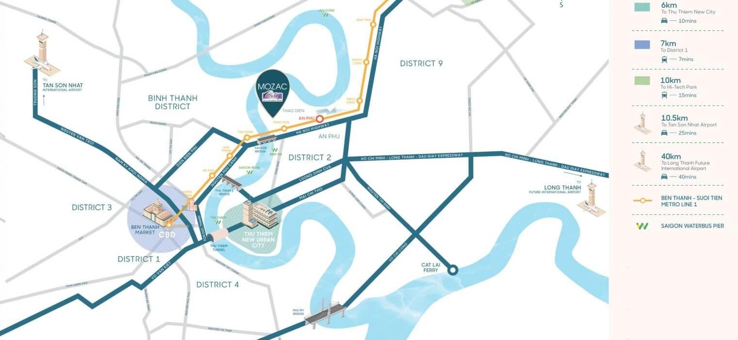 Vị trí dự án căn hộ Mozac Thao Dien