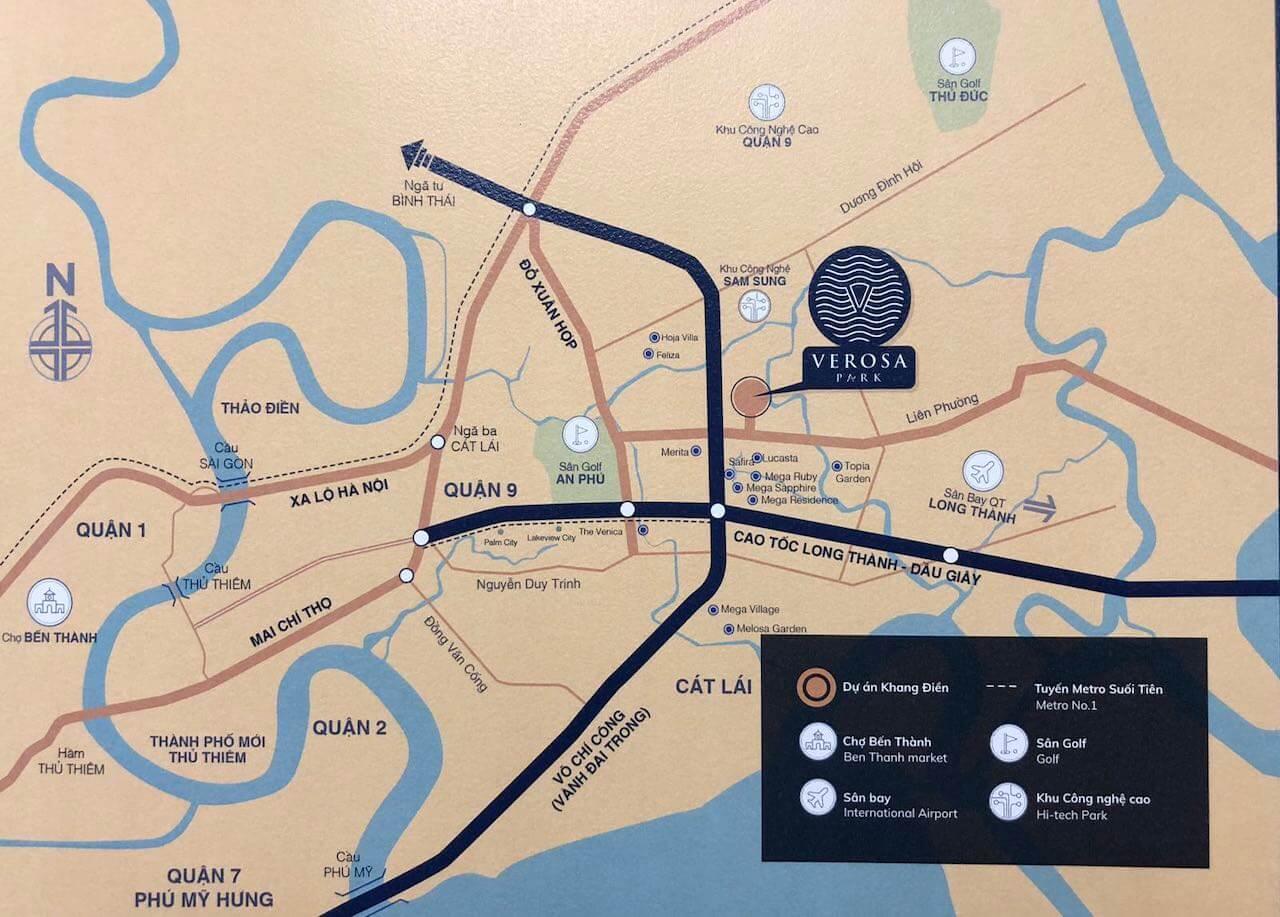 Vị trí nhà phố biệt thự Verosa Khang Điền Quận 9