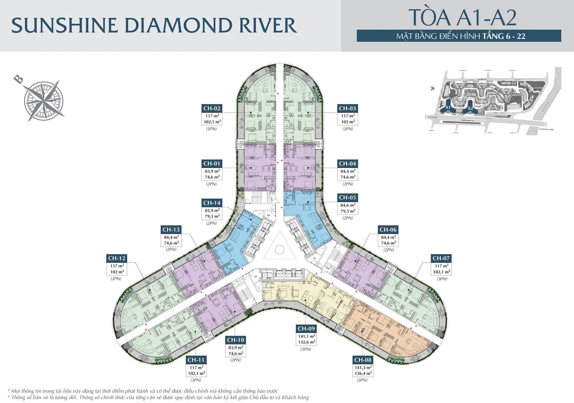 Mặt bằng tầng 6-22 toà A1 và toà A2 dự án Sunshine Diamond River quận 7