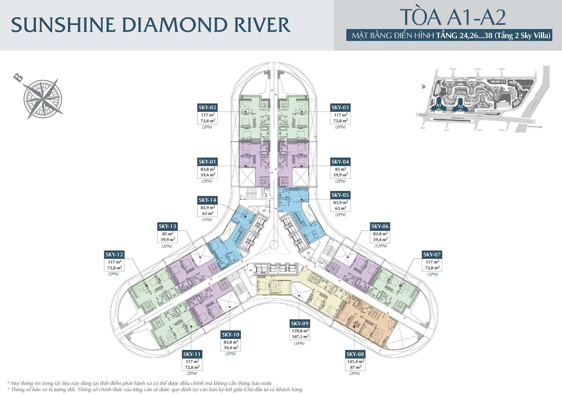 Mặt bằng 24, 26...38 toà A1 và toà A2 dự án Sunshine Diamond River quận 7